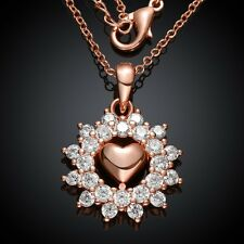 Women 18K Rose Gold Filled GP Swarovski Crystal Heart Flower Pendant Necklace