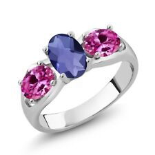 1.65 Ct Oval Checkerboard Blue Iolite Pink Created Sapphire 14K White Gold Ring