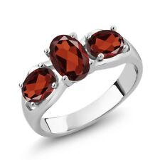 1.90 Ct Oval Red Garnet 925 Sterling Silver Ring