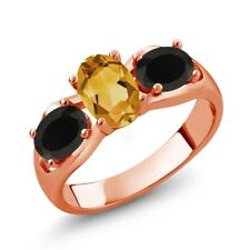1.38 Ct Oval Yellow Citrine Black Onyx 18K Rose Gold Plated Silver Ring