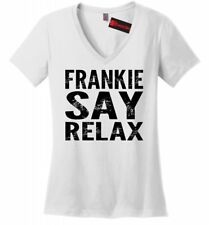 Frankie Say Relax Funny Soft Ladies V Neck T Shirt 80s Music Hollywood Womens Z5