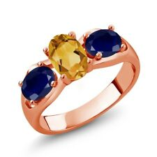 1.70 Ct Oval Yellow Citrine Blue Sapphire 18K Rose Gold Plated Silver Ring