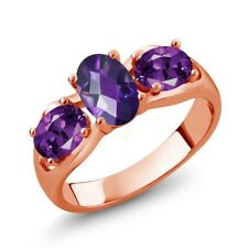 1.45 Ct Oval Checkerboard Purple Amethyst 18K Rose Gold Ring