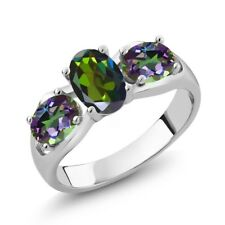1.80 Ct Forest Green Mystic Topaz and Green Mystic Topaz 14K White Gold Ring