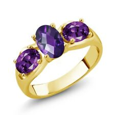 1.45 Ct Oval Checkerboard Purple Amethyst 18K Yellow Gold Plated Silver Ring