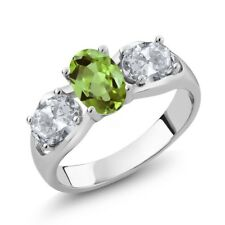 1.80 Ct Oval Green Peridot White Topaz 925 Sterling Silver Ring