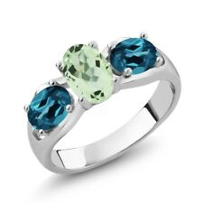 1.75 Ct Oval Green Amethyst London Blue Topaz 925 Sterling Silver Ring