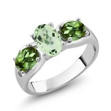 1.75 Ct Oval Green Amethyst Green Tourmaline 925 Sterling Silver Ring