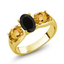1.60 Ct Oval Black Onyx Yellow Citrine 18K Yellow Gold Plated Silver Ring