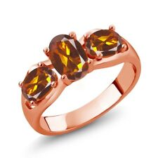 1.50 Ct Oval Orange Red Madeira Citrine 18K Rose Gold Plated Silver Ring