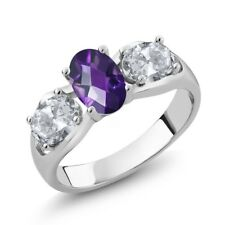 1.75 Ct Oval Checkerboard Purple Amethyst White Topaz 925 Sterling Silver Ring