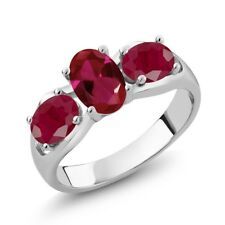 2.10 Ct Oval Red Created Ruby Red Ruby 18K White Gold Ring