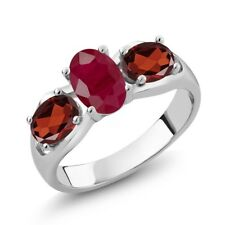 2.02 Ct Oval Red Ruby Red Garnet 18K White Gold Ring