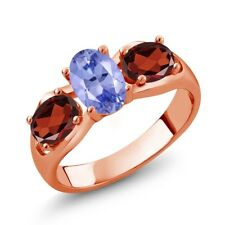 1.82 Ct Oval Blue Tanzanite AAA Red Garnet 18K Rose Gold Plated Silver Ring