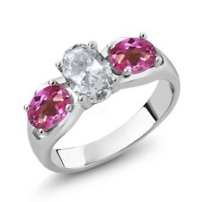 1.95 Ct Oval White Topaz Pink Mystic Topaz 925 Sterling Silver Ring