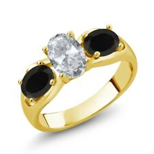 1.73 Ct Oval White Topaz Black Onyx 14K Yellow Gold Ring