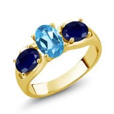 1.90 Ct Oval Swiss Blue Topaz Blue Sapphire 18K Yellow Gold Plated Silver Ring