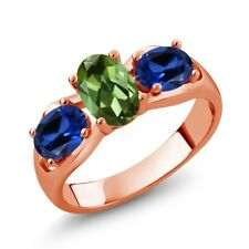 1.70 Ct Oval Green Tourmaline Blue Simulated Sapphire 18K Rose Gold Ring