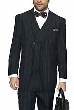 Mens Black Plaid Three Piece Two Button Wool Suit