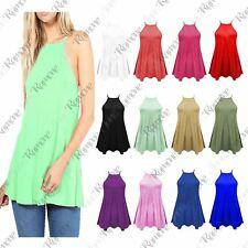New Ladies Womens High Neck Plain Cami Vest Top Sleeveless Flared Swing Tank Top