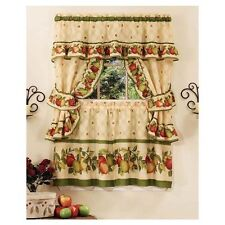 NEW 5 pc Tier Pair Window Curtain Set Valance Kitchen 24 36 in Red Green Apples