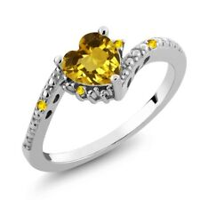 0.73 Ct Heart Shape Yellow Citrine Yellow Sapphire 925 Sterling Silver Ring