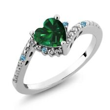 0.70 Ct Simulated Emerald Swiss Blue Simulated Topaz 925 Sterling Silver Ring