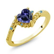 0.60 Ct Heart Shape Blue Iolite Swiss Blue Topaz 18K Yellow Gold Ring