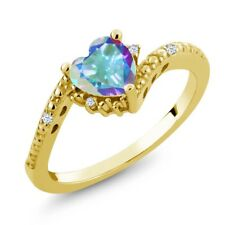 0.99 Ct Heart Shape Mercury Mist Mystic Topaz White Topaz 18K Yellow Gold Ring