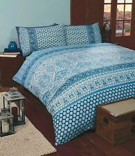 MOROCCAN ETHNIC PRINT DUVET QUILT COVER BEDDING BED LINEN SET MARRAKESH BLUE NEW