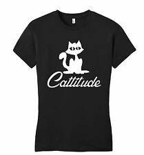 Cattitude Juniors T Shirt Cute Cat Lover Gift Tee Kitten Animal Petite Womens