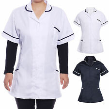 Womens Ladies Tunic Nurses Uniforms Workwear Medical Healthcare White Navy