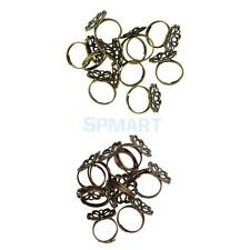 10 Pieces Filigree Vintage Adjustable Brass Blank Flower Ring Base