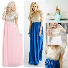 Women Sequin Bridesmaid Formal Evening Long Dresses Chiffon Party Prom Gown 6 12