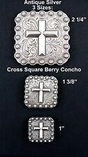 CONCHOS LOT OF 6 PC WESTERN CROSS SQUARE BERRY ANTIQUE SILVER 3 SIZES NEW