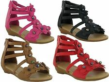 GIRLS FLOWER LOW WEDGE CASUAL HOLIDAY SUMMER BEACH SANDALS SHOES UK SIZE 4-2