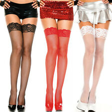 Fishnet Thigh Hi Lingerie Stockings w/ Silicon Top Reg or Plus Size Queen ML4992