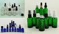 Small Glass Dropper Bottles Cobalt Blue or Clear 10ml 30ml 50ml 100ml + Closures