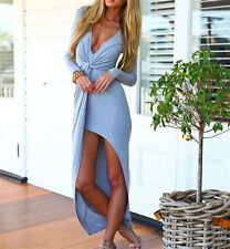 New Women's Sexy Deep V-Neck Split Long Sleeve Maxi Dress Party Cocktail Clothes