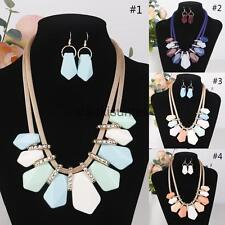 Pastal Bib Chunky Necklace and Earrings Set Jewelry Statement Party Jewelry Set