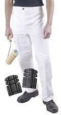 ProDec Painters White Work Trousers Decorators Pants **WITH KNEE PADS** (PC199)