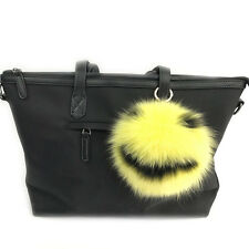 "Smile Smiley Face -6"" Large Genuine Real Fox Fur Pom Pom Ball Yellow / Black"