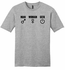 Man Woman Geek Funny Mens  Soft T Shirt Nerd Gift Gamer Tee Z2