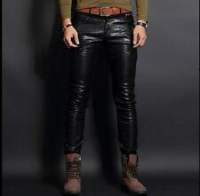 Mens Motorcycle Slim Fit Cool Punk Fashion Genuine Leather Pants Trousers Size