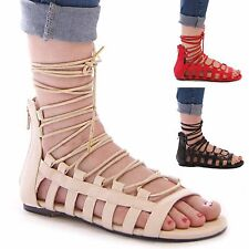LADIES WOMENS GLADIATOR SUMMER HOLIDAY LACE UP SANDALS CASUAL FASHION SHOES