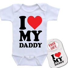 """ I Love my Daddy  ""Custom boutique Baby onesie bodysuit & Bib set! (5 colors)."
