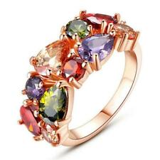 Fashion Ladies Colorful Crystal Bridal Wedding Finger Ring Rose Gold Gift US 6-9