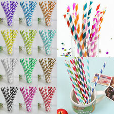 25x Creative Party Wedding Supply Disposable Biodegradable Paper Striped Straws