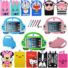 Cute Cartoons Silicone Rubber Shockproof Back Shell Case For Various iPad Tablet