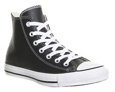 Mens Converse All Star Hi Lthr BLACK WHITE Trainers Shoes